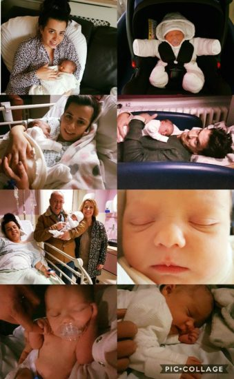 Eloise birth of Amelia May White collage